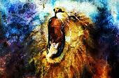painting of a roaring lion on a abstract desert pattern