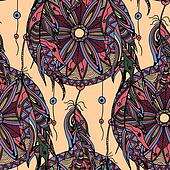 color seamless pattern dream catcher with feathers