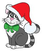 Cat in Christmas cap