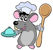 Mouse cook with spoon