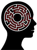 Circle Maze Puzzle as a Brain in Outline Profile