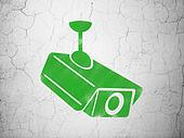 Security concept: Cctv Camera on wall background