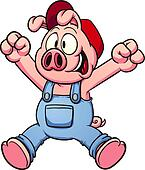 Happy pig jumping