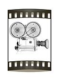 Old camera. 3d render. The film strip