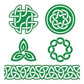 Celtic Irish green patterns and kno