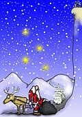 Santa and reindeer by the mountain