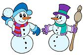 Pair of cute snowmen