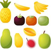 Tropical fruit icons