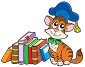 Cat teacher with books