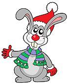 Cute rabbit in Christmas hat