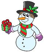 Cute snowman with gift