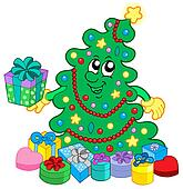 Happy Christmas tree with gifts