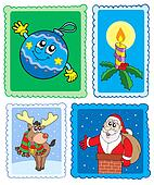 Christmas post stamps collection