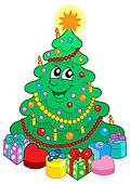 Smiling cute Christmas tree with gift