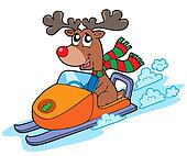 Christmas reindeer riding scooter