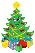 Smiling Christmas tree with gifts