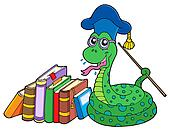 Snake teacher with books
