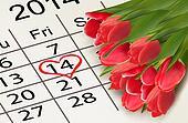 Valentine's Day Calendar. February 14 of Saint Valentines day. V