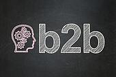 Finance concept: Head With Gears and B2b on chalkboard background