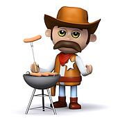 3d Cowboy sheriff cooks a mean barbeque