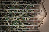 Dark brick wall with plaster - Army camouflage