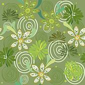 seamless swirly green floral pattern