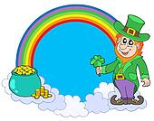 Rainbow circle with leprechaun