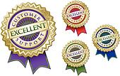 Set of Four Colorful Excellent Customer Support Emblem Seals With Ribbons.