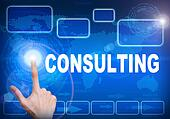Touch screen digital interface of consulting concept