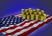 American economy concept with national flag and golden coins - 3D render