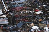 Junkyard car pile