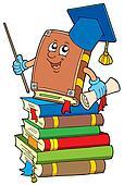 Book teacher on pile of books