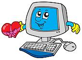 Cartoon computer with heart