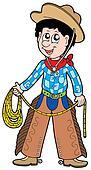 Cartoon cowboy with lasso