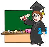 Graduate student with blackboard
