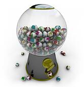 Gumball Machine Filled with Small Earths