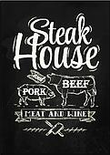 Poster Steak House chalk
