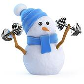 3d Snowman lifting weights