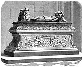 Tomb of the children of Anne of Brittany in the cathedral of Tours, vintage engraving.