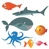 Set of various sea animals