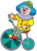 Cartoon clown riding bicycle