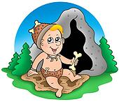 Cartoon prehistoric baby before cave
