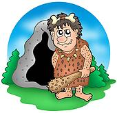 Cartoon prehistoric man before cave