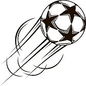Soccer ball with stars flying through the air