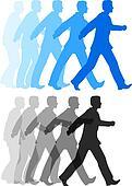 Business man walking forward action