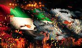 United Arab Emirates UN Flag War Torn Fire International Conflict 3D