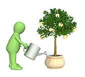 3d puppet, watering monetary tree