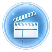 movie clapper board icon ice, isolated on white background.