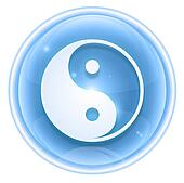 yin yang symbol icon ice, isolated on white background.