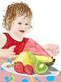 Girl reaching for watermelon